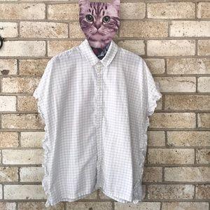 Madewell windowpane ruffle-side shirt